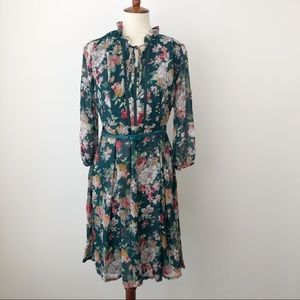 Liza Luxe ModCloth Green Floral 3/4 Sleeve Dress